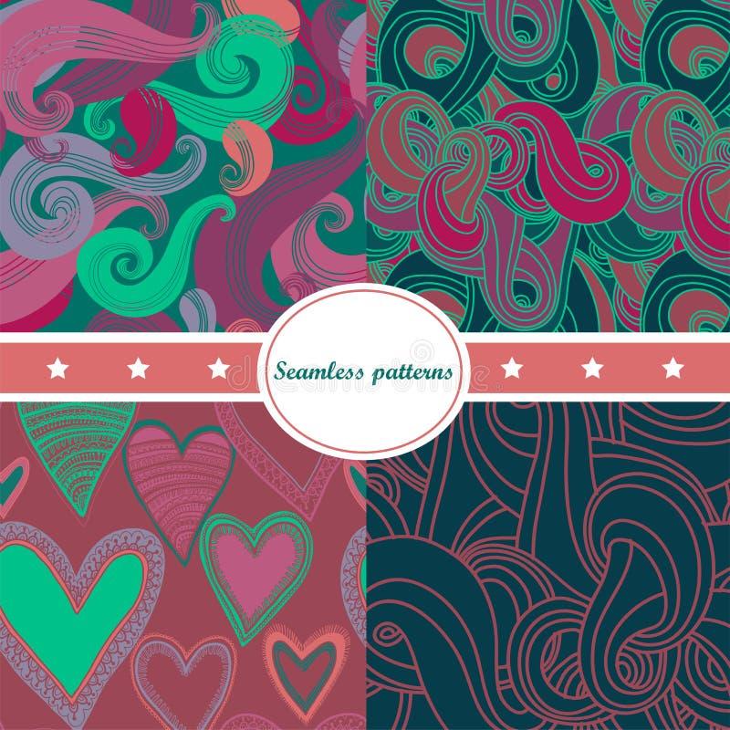 Conjunto colorido de fondos inconsútiles abstractos stock de ilustración