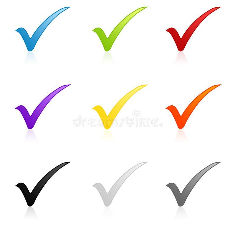 Conjunto colorido de la marca de verificación foto de archivo libre de regalías