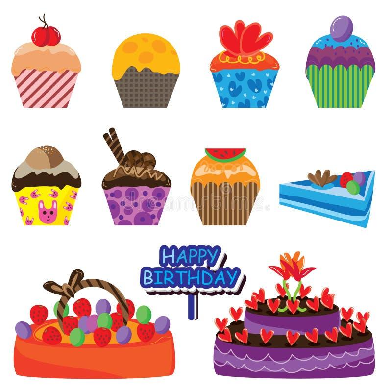 Conjunto colorido de la torta stock de ilustración