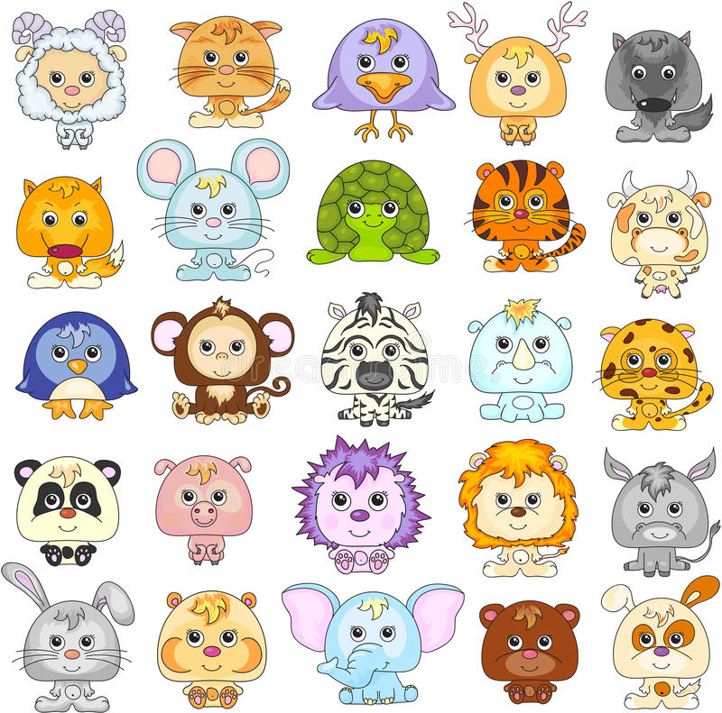 Conjunto completo de animais engraçados dos desenhos animados ilustração do vetor
