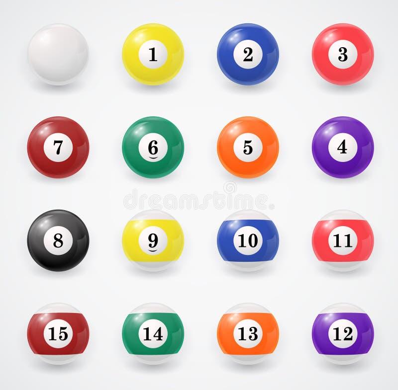 Conjunto completo de bolas de billar en un blanco stock de ilustración