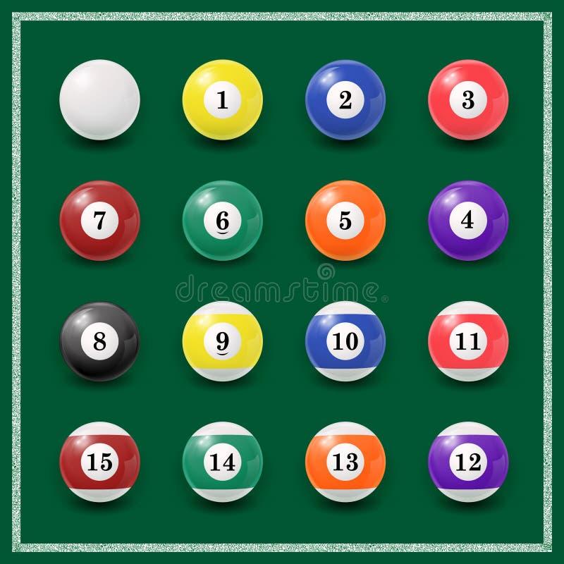 Conjunto completo de bolas de billar en un verde stock de ilustración