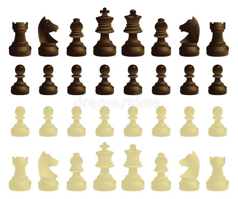 Conjunto completo de las piezas de ajedrez libre illustration