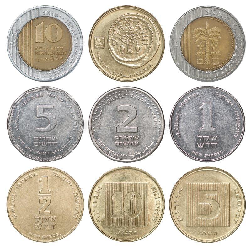Conjunto completo de moedas israelitas fotos de stock royalty free