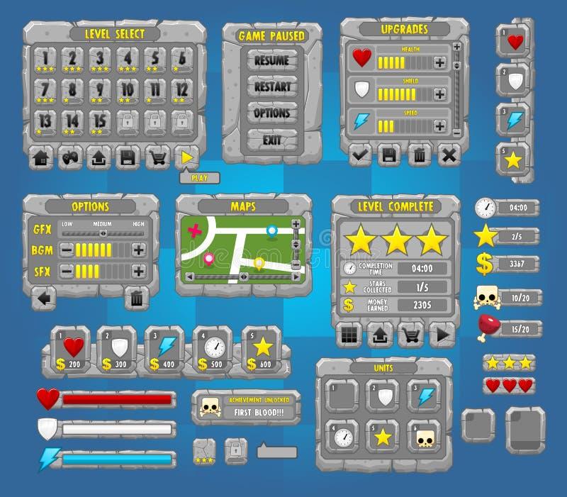 Conjunto completo de pedra da interface de utilizador do jogo ilustração stock