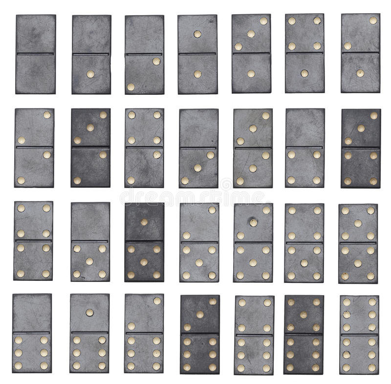 Conjunto completo dos dominós isolado no fundo branco imagem de stock