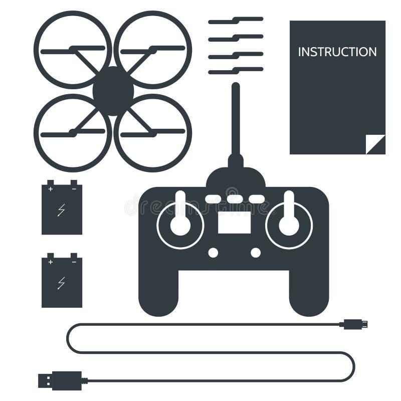 Conjunto completo para o quadrocopter Ícones lisos ilustração stock