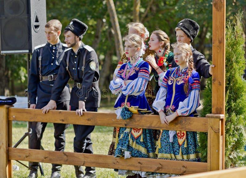 Conjunto cosaco del folclore imagen de archivo