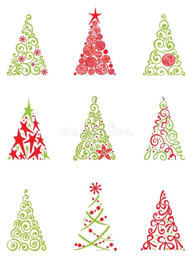 Conjunto de árboles de navidad modernos ilustración del vector