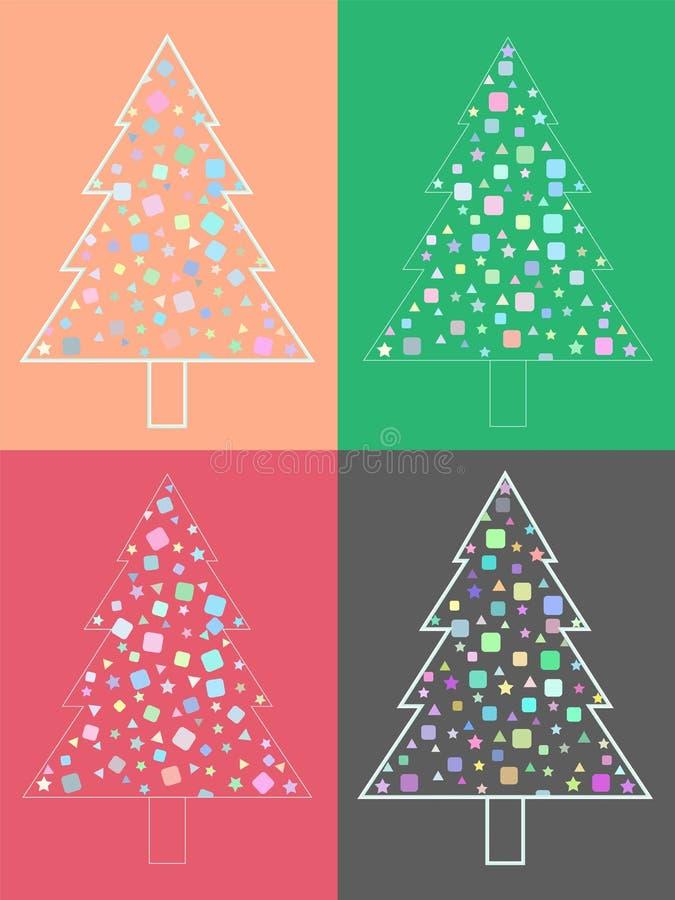 Conjunto de árboles de navidad modernos Árboles de navidad para el diseño del día de fiesta Vector stock de ilustración