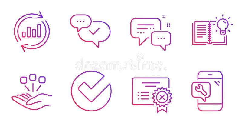 Conjunto de ícones Aprovados, Consolidação e Verificação Conhecimento do produto, Mensageiro do funcionário e Sinais de dados de  ilustração royalty free