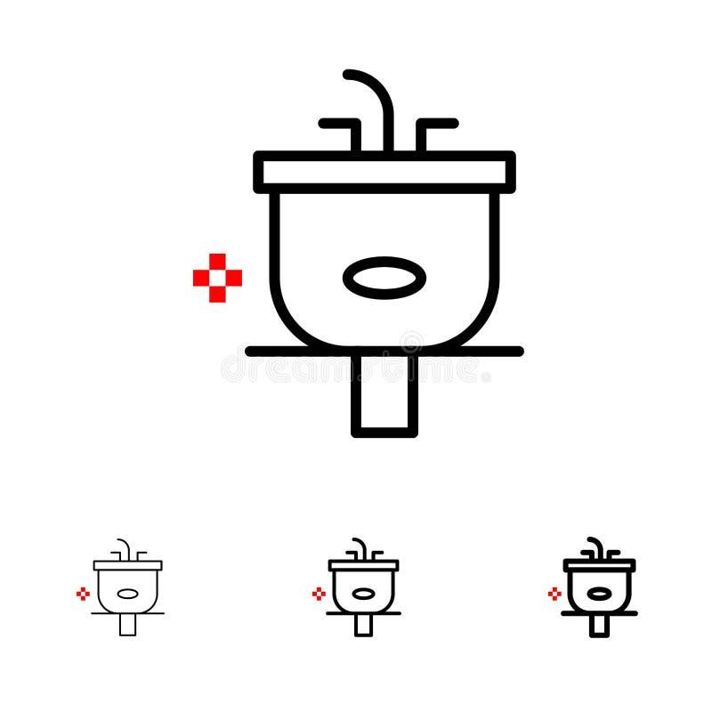 Conjunto de ícones Basin, Bathroom, Clearing, Shower, Wash Bold e thin black line ilustração stock