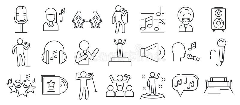 Conjunto de ícones de cantor, estilo de estrutura ilustração royalty free