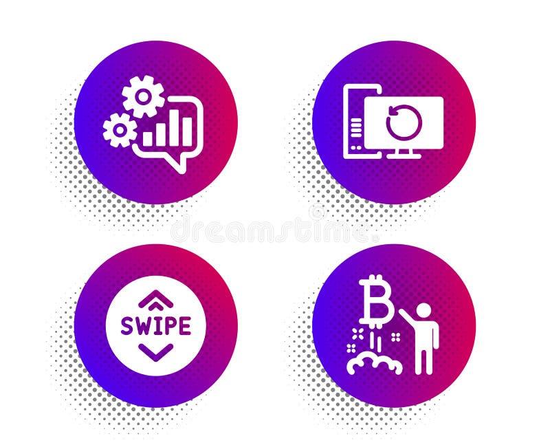 Conjunto de ícones de computador CogWheel, Swipe up e Recovery Símbolo de projeto Bitmoney Vetor ilustração stock