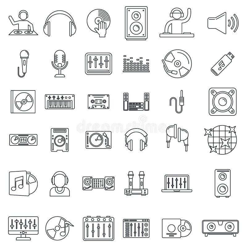 Conjunto de ícones Dj, estilo de estrutura de tópicos ilustração do vetor