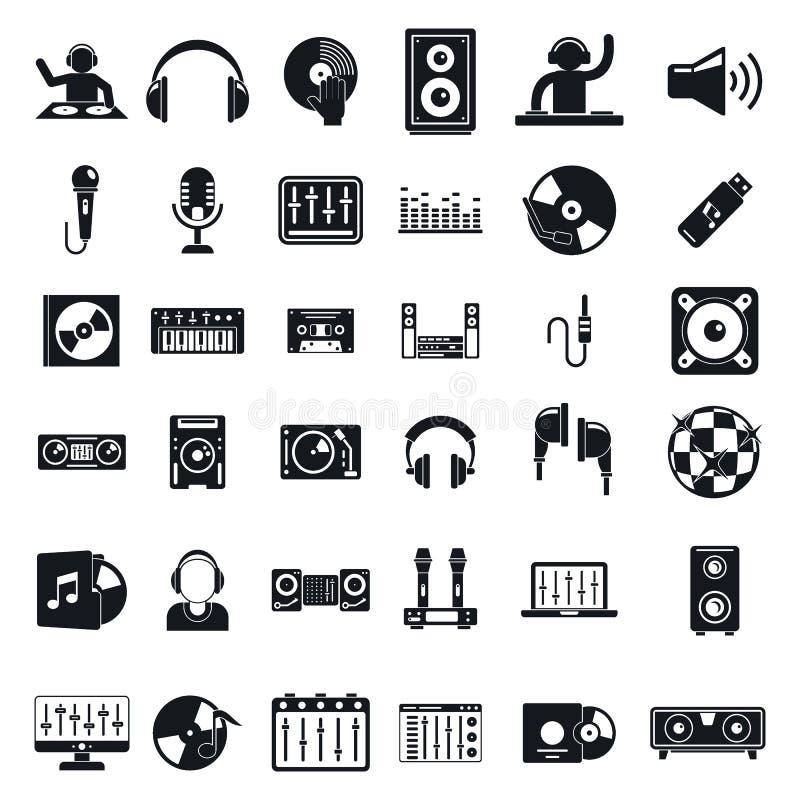 Conjunto de ícones Dj, estilo simples ilustração do vetor
