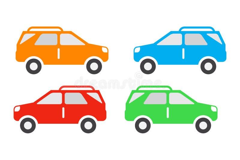 Conjunto de ícones do carro, ícones cor do veículo suv, laranja, azul, vermelho e verde, isolados sobre fundo branco ilustração do vetor