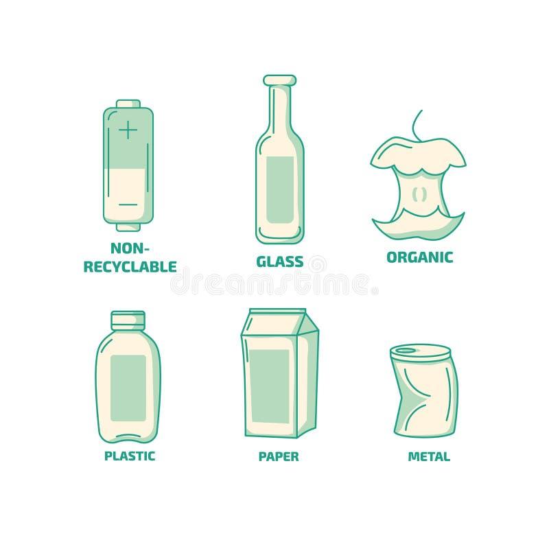 Conjunto de ícones dos tipos de lixo de lixo Ícones orgânicos, recicláveis, de plástico e de resíduos de papel fotografia de stock royalty free