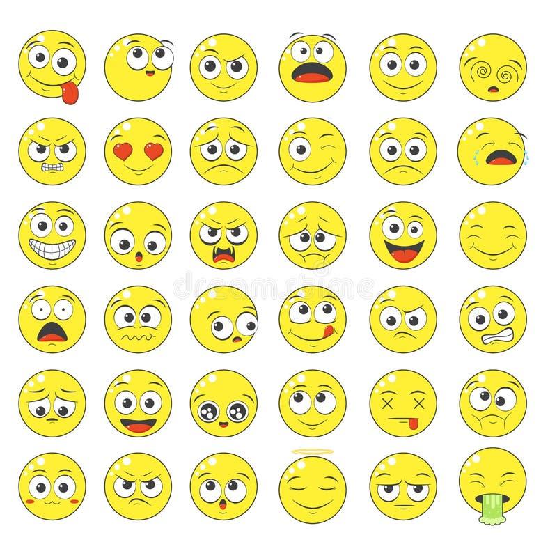 Conjunto de ícones expressivos com humor diferente ilustração stock