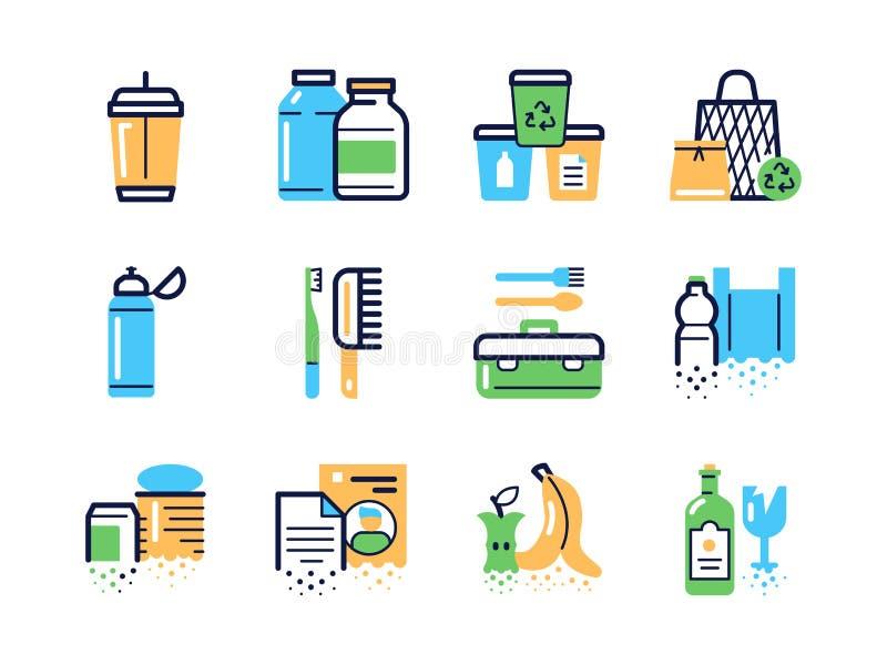 Conjunto de ícones lineares de cor zero de desperdício ilustração royalty free