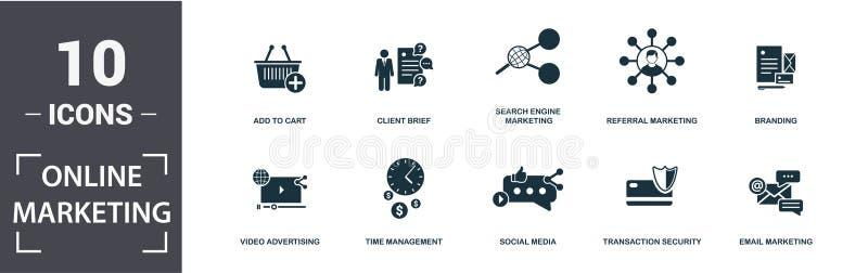 Conjunto de ícones de Marketing Online Contém marketing de e-mail, vídeo, consulta, marketing do mecanismo de pesquisa, mídia soc ilustração stock