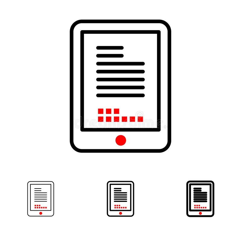 Conjunto de ícones Mobile, Coding, Hardware, Cell Bold e thin black line ilustração stock