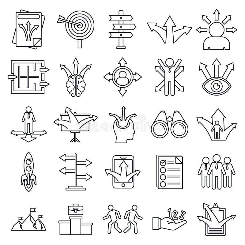 Conjunto de ícones de oportunidade de negócios, estilo de estrutura de tópicos ilustração do vetor