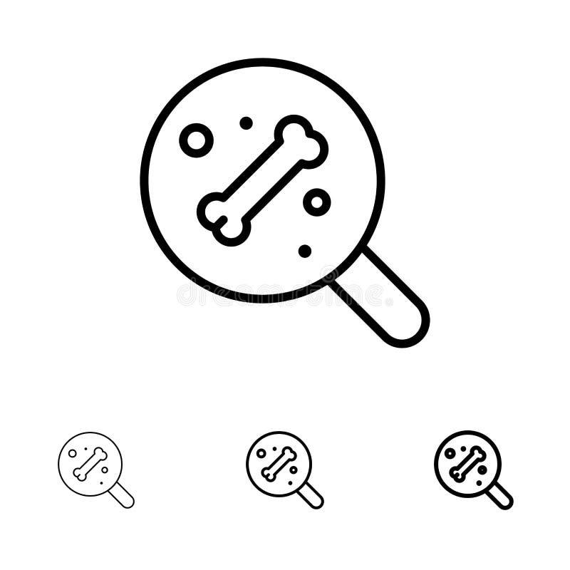 Conjunto de ícones Pesquisar, Osso, Ciência Negrito e Fino de Linha Preta ilustração stock