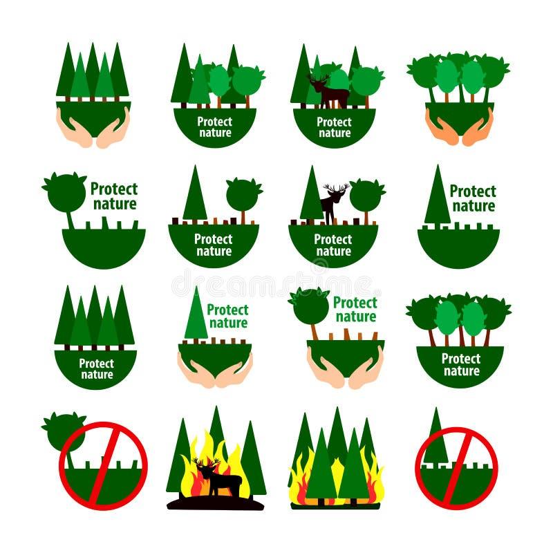Conjunto de ícones de proteção da floresta desflorestação e incêndios florestais ilustração royalty free