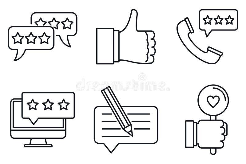 Conjunto de ícones de revisão, estilo de estrutura de tópicos ilustração stock