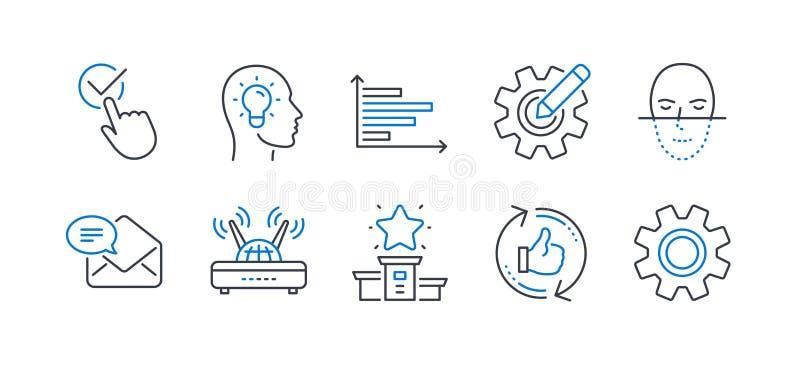 Conjunto de ícones de tecnologia, como CogWheel, Wifi, Winner podium Vetor ilustração royalty free