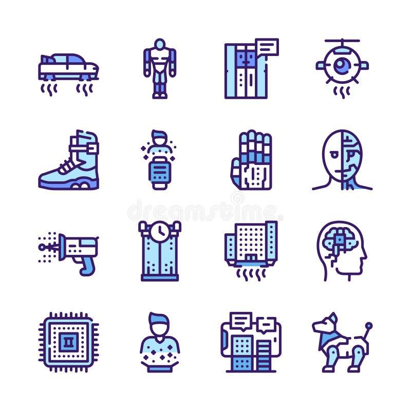 Conjunto de ícones de vetor linear de cores ilustração stock