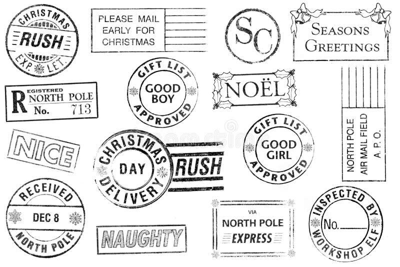 Conjunto de 15 sellos de la Navidad stock de ilustración