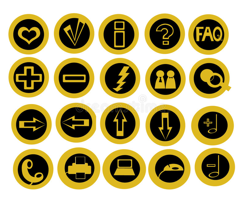 Conjunto de 20 iconos útiles de la tecnología stock de ilustración