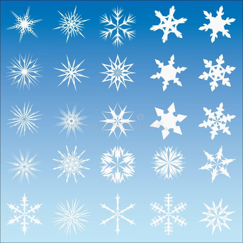 Conjunto de 25 escamas de la nieve del vector stock de ilustración