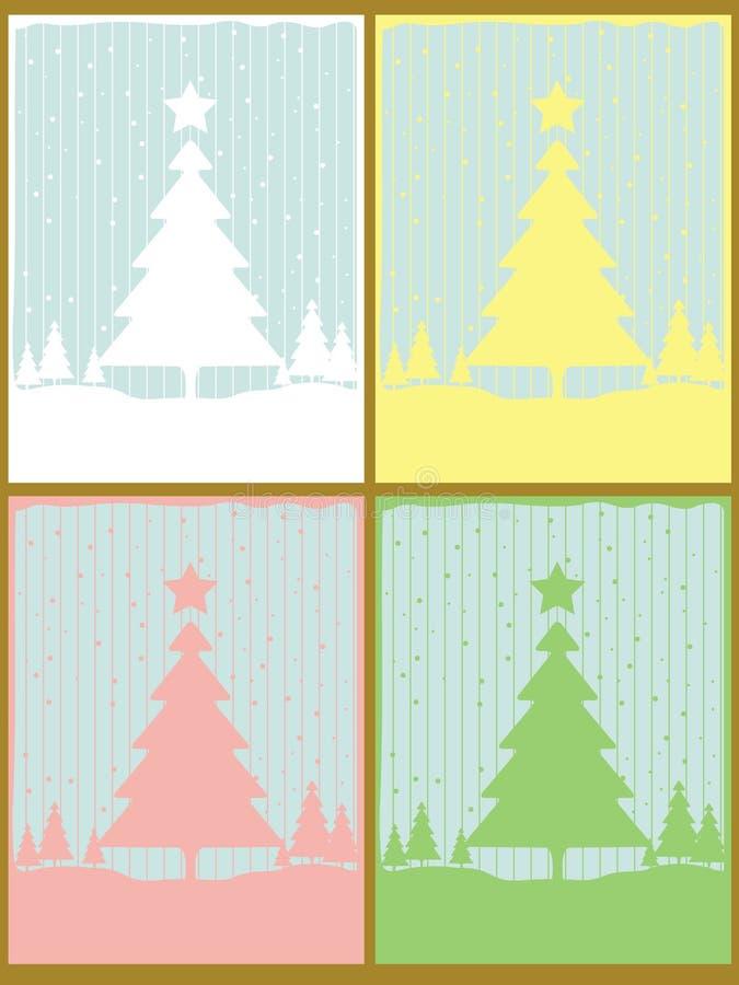 Conjunto de 4 tarjetas de Navidad ilustración del vector