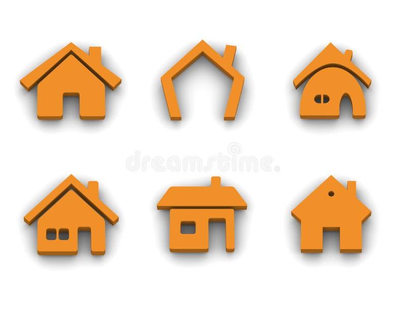 Conjunto de 6 iconos de la casa ilustración del vector