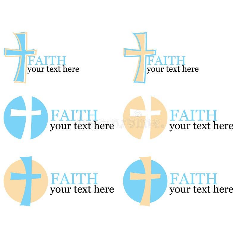 Conjunto de 6 insignias con tema cruzado/religioso imágenes de archivo libres de regalías