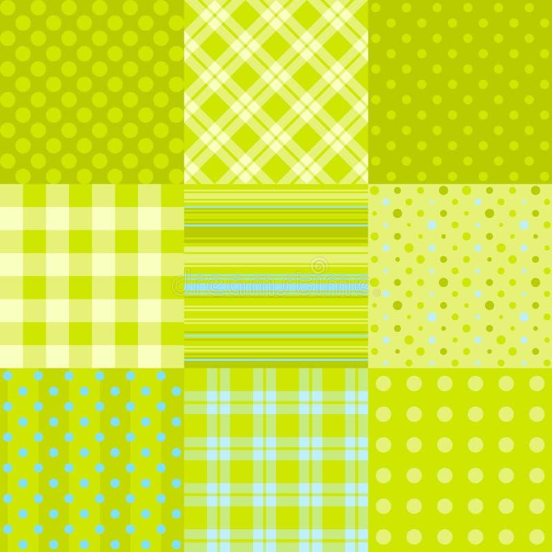 Conjunto de 9 texturas inconsútiles simples ilustración del vector