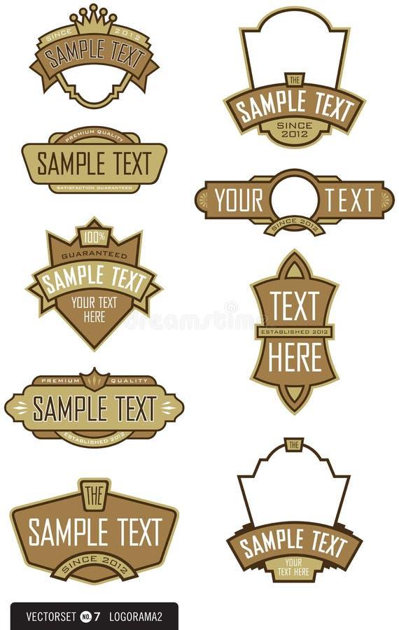 Conjunto de 9 vectores de la insignia/de la escritura de la etiqueta