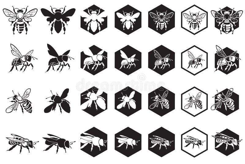 Conjunto de abejas stock de ilustración