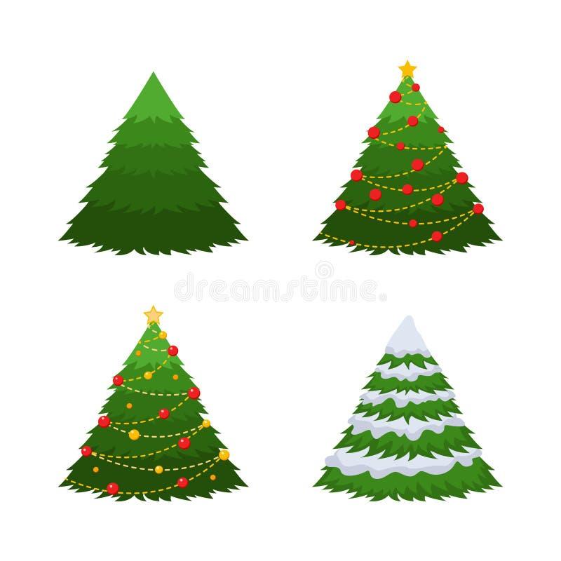 Conjunto de 4 abetos Un abeto verde, un abeto en nieve, un árbol de navidad con las decoraciones ilustración del vector