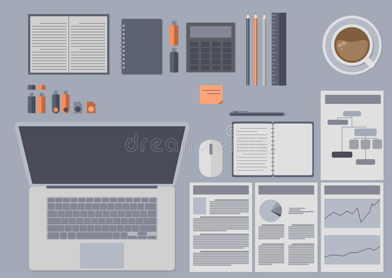 Conjunto de accesorios de la oficina ilustración del vector