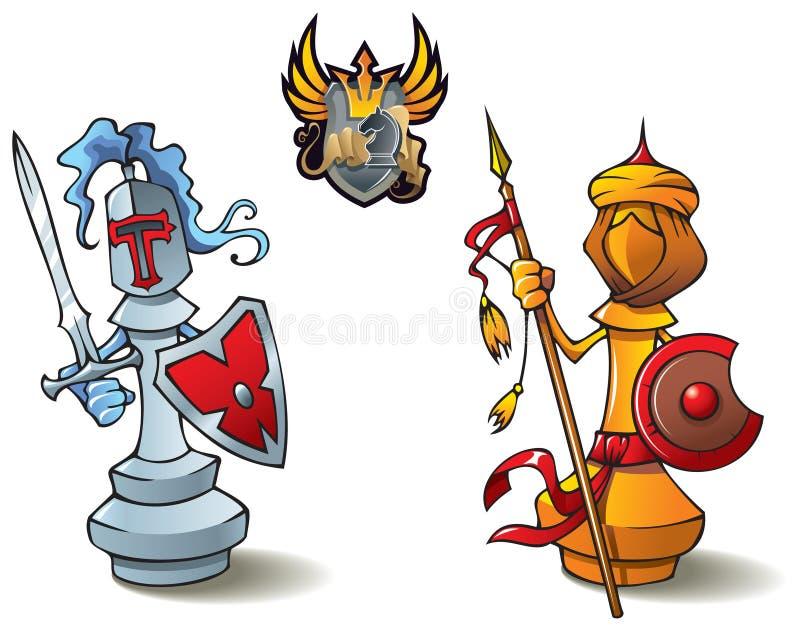 Conjunto de ajedrez: Obispos ilustración del vector