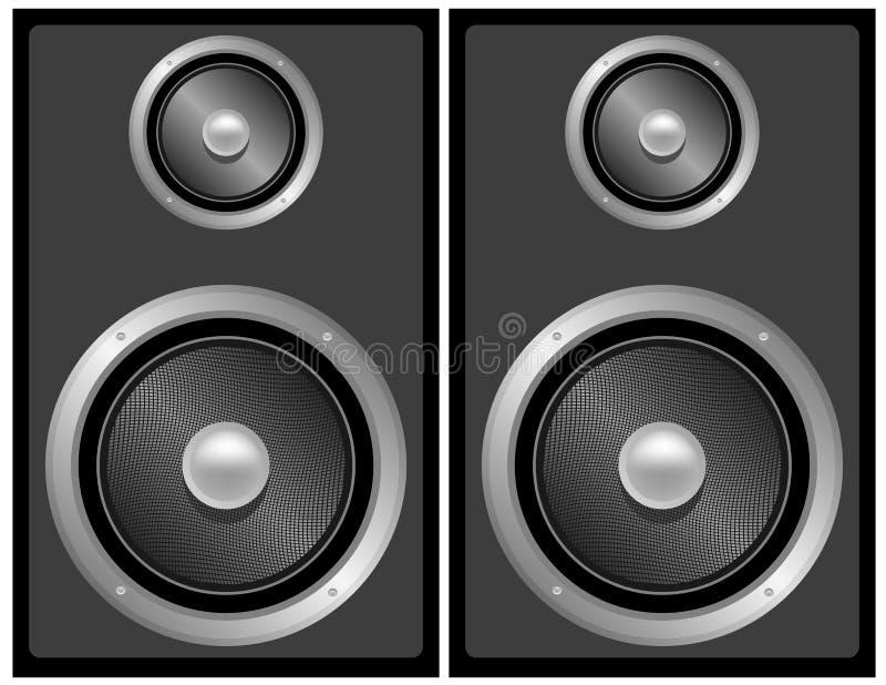 Conjunto de altavoces estéreos negros y grises stock de ilustración