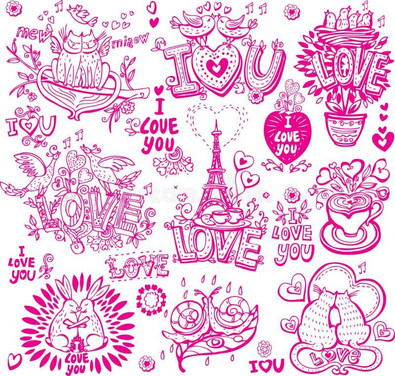 Conjunto de amor incompleto stock de ilustración
