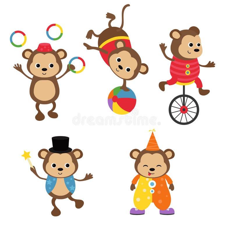 Conjunto de animales de circo stock de ilustración