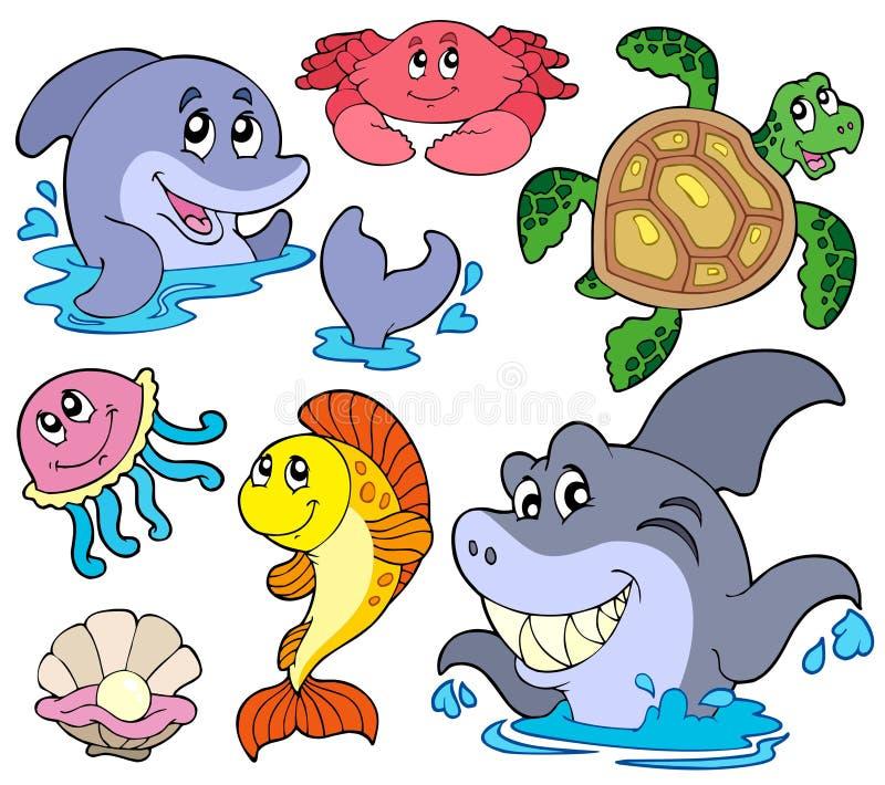 Conjunto de animales de marina stock de ilustración