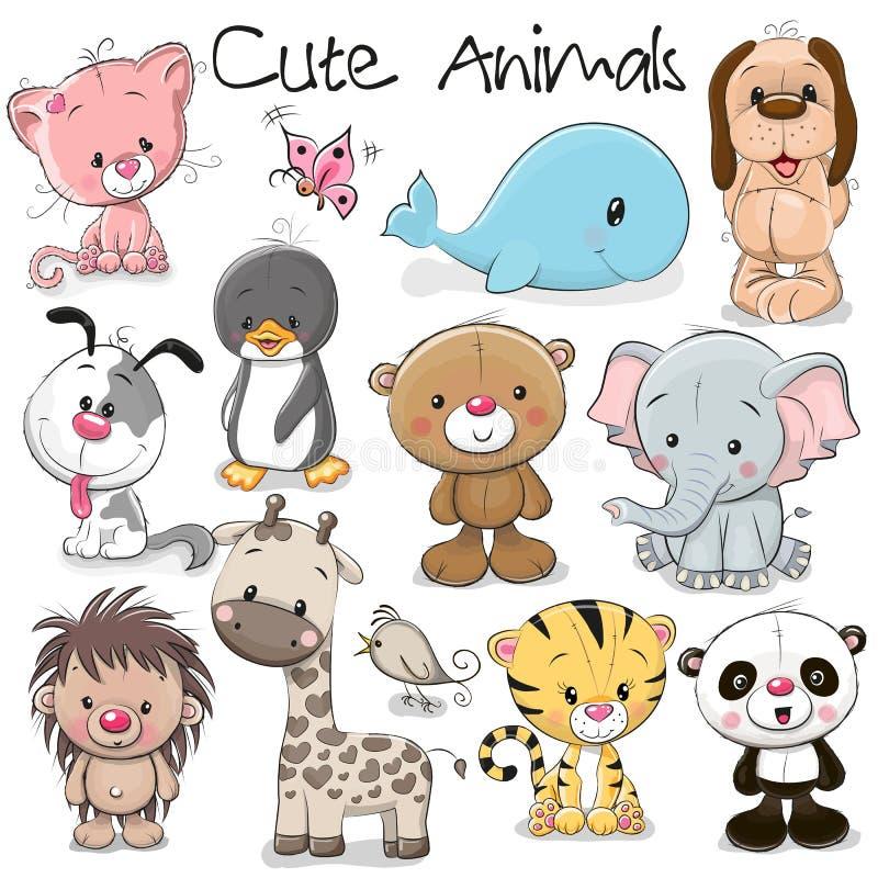 Conjunto de animales lindos ilustración del vector