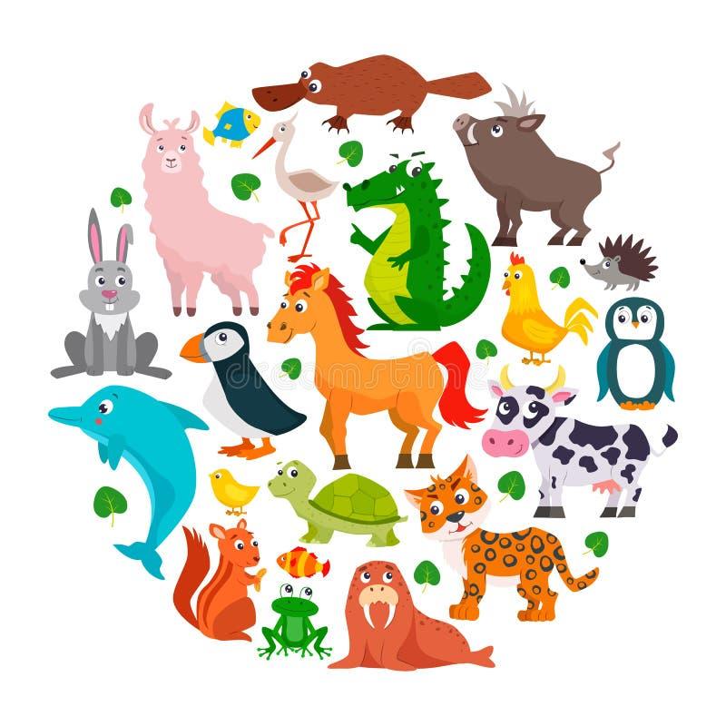 Conjunto de animales lindos de la historieta ilustración del vector